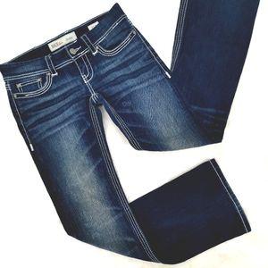 BKE Women's 27 Stella Boot Blue Cotton Low Jeans